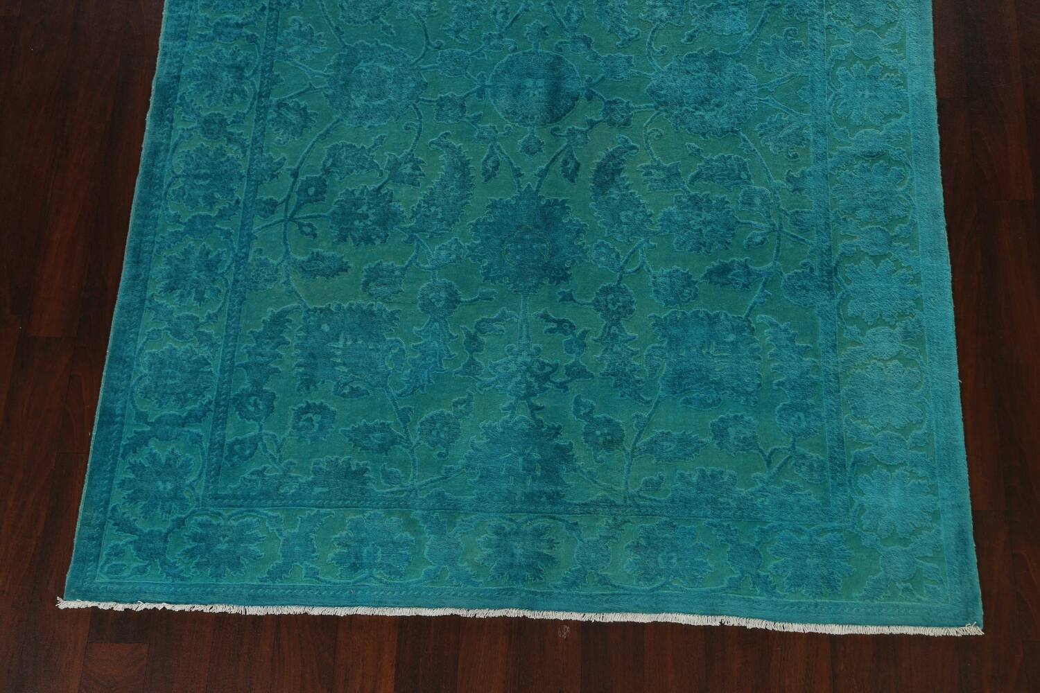 Vegetable Dye Carved Aqua Oushak Chobi Oriental Area Rug 6x9 image 5