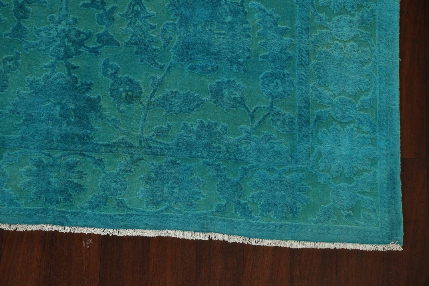 Vegetable Dye Carved Aqua Oushak Chobi Oriental Area Rug 6x9 image 6