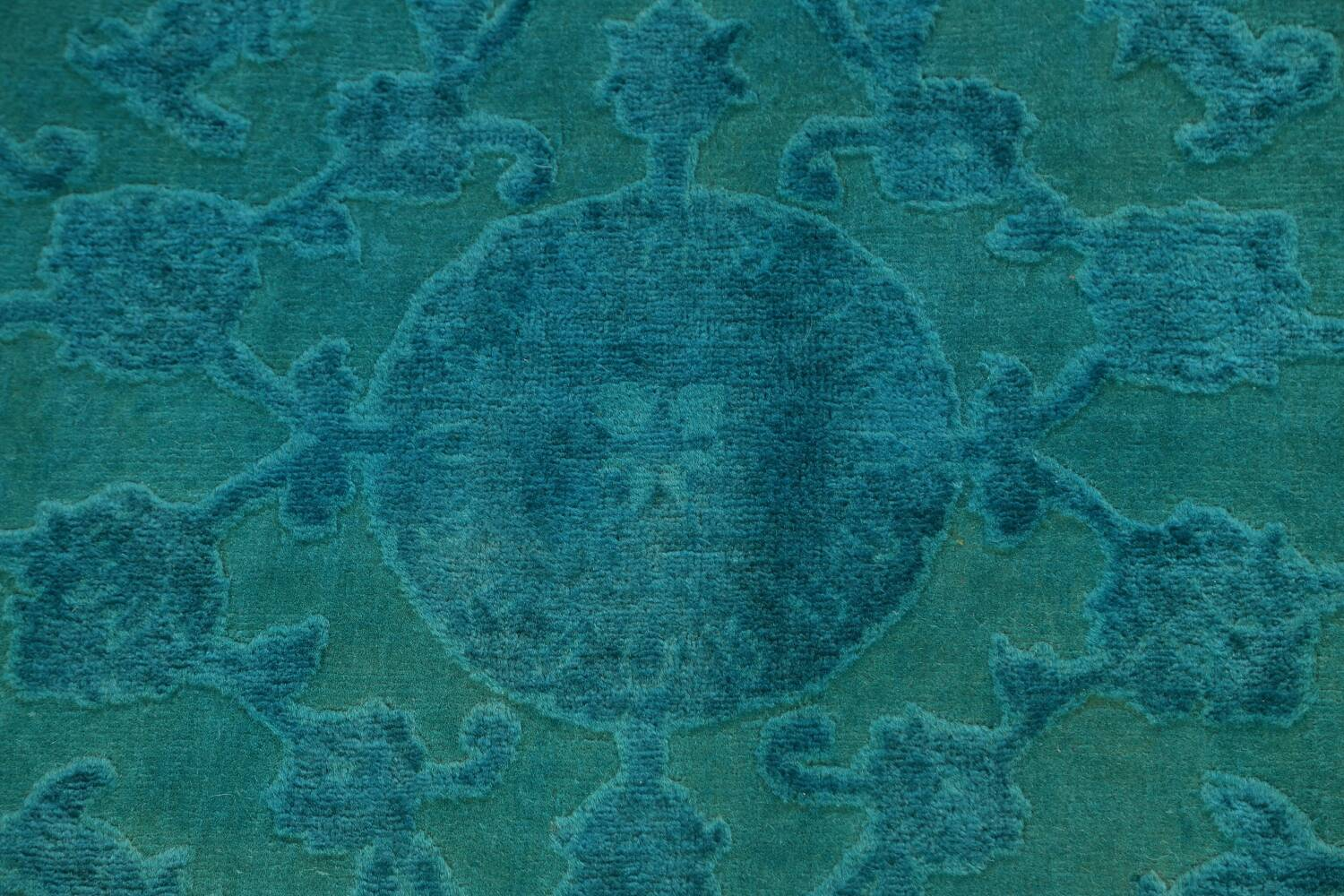 Vegetable Dye Carved Aqua Oushak Chobi Oriental Area Rug 6x9 image 8
