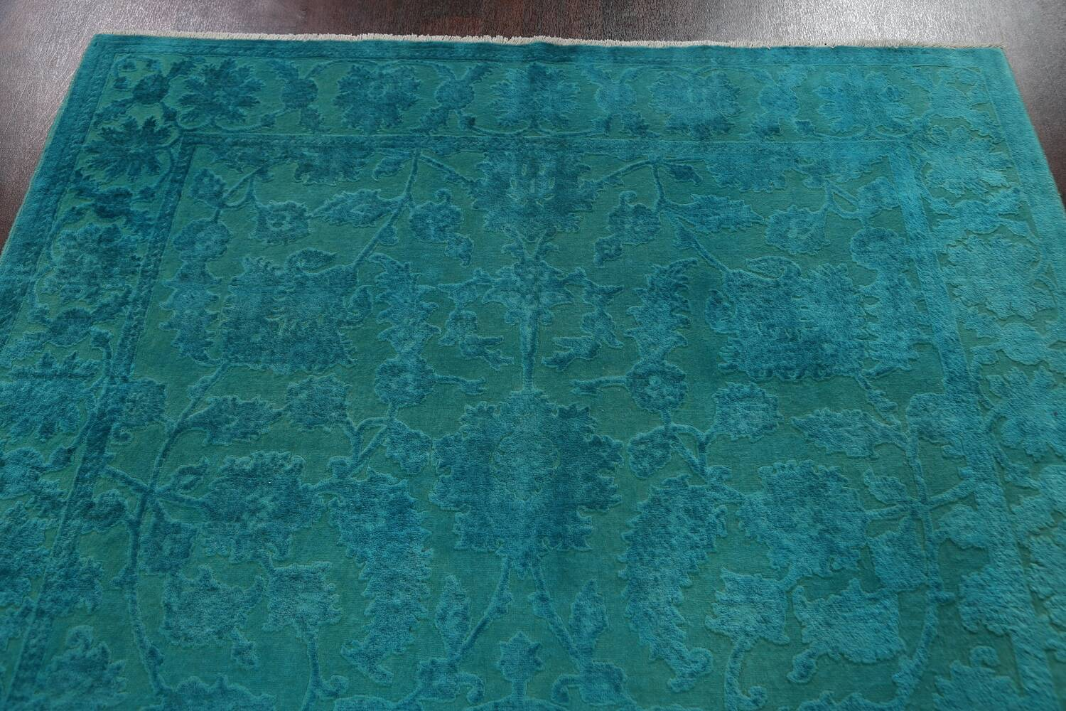 Vegetable Dye Carved Aqua Oushak Chobi Oriental Area Rug 6x9 image 9