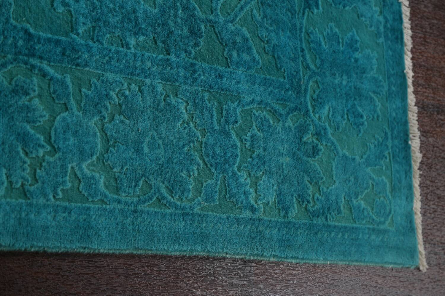 Vegetable Dye Carved Aqua Oushak Chobi Oriental Area Rug 6x9 image 10