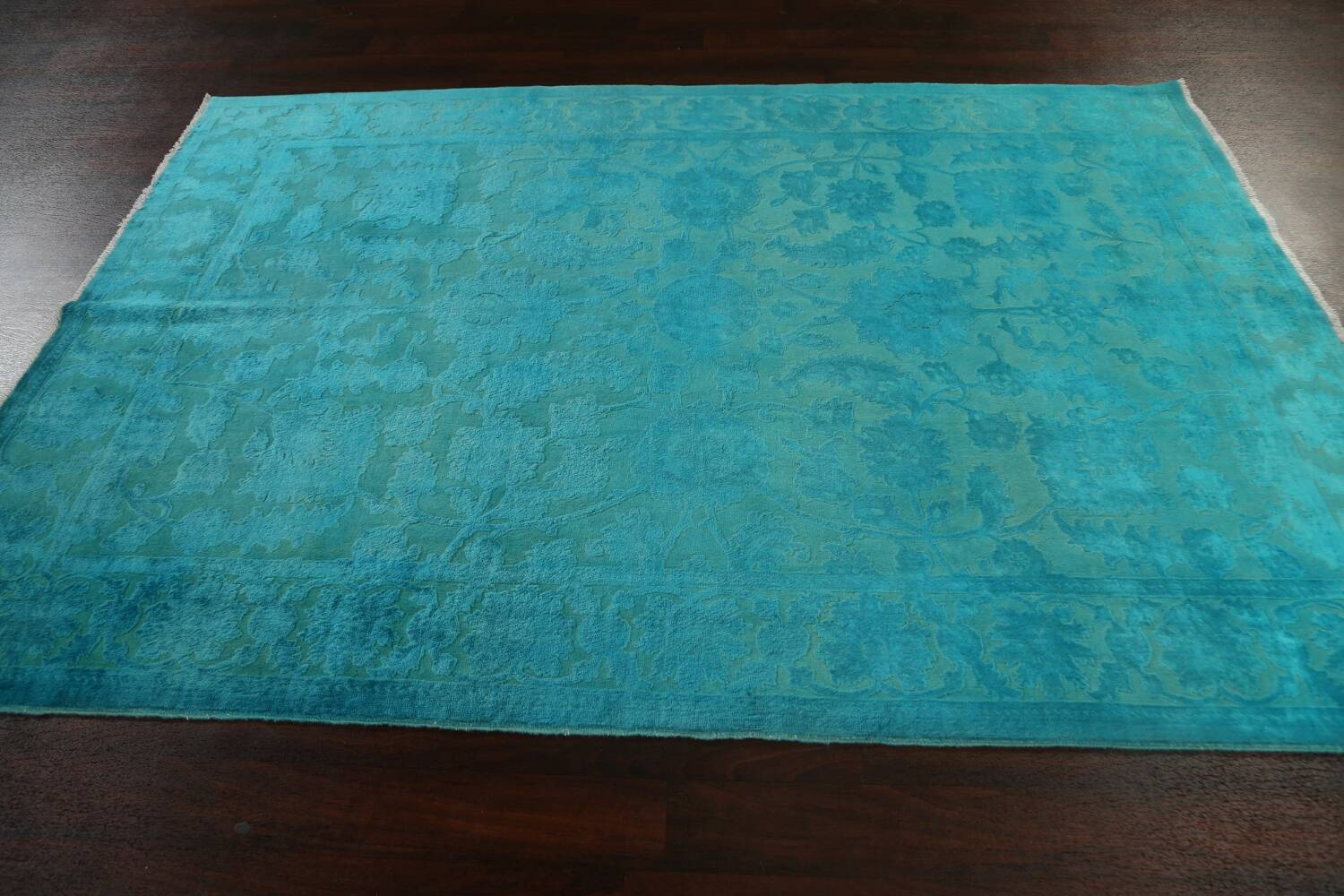 Vegetable Dye Carved Aqua Oushak Chobi Oriental Area Rug 6x9 image 12