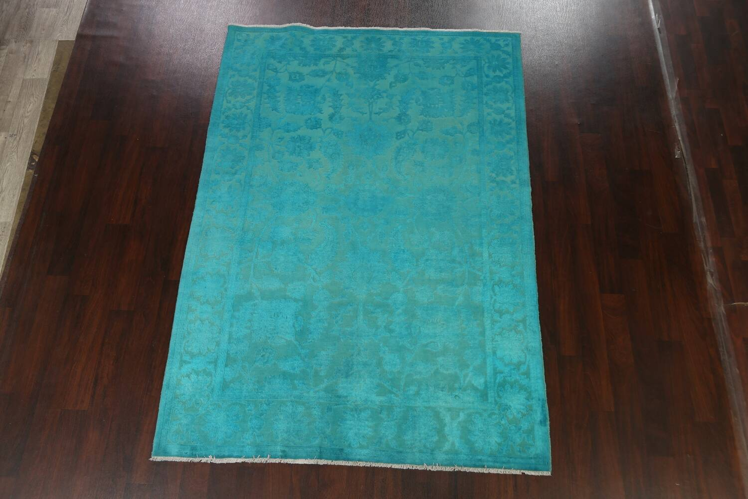Vegetable Dye Carved Aqua Oushak Chobi Oriental Area Rug 6x9 image 13