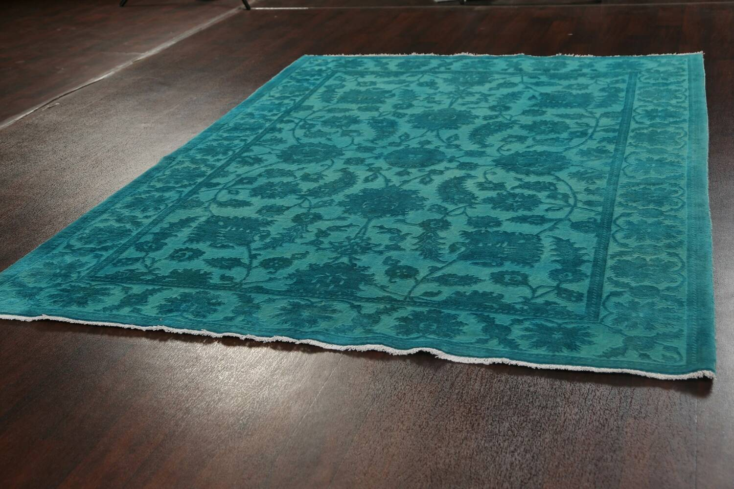 Vegetable Dye Carved Aqua Oushak Chobi Oriental Area Rug 6x9 image 14