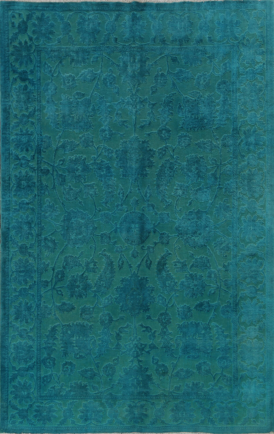 Vegetable Dye Carved Aqua Oushak Chobi Oriental Area Rug 6x9 image 1