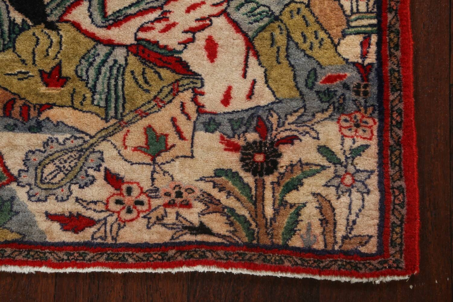Pictorial Square Kashmar Persian Area Rug 2x2 image 6