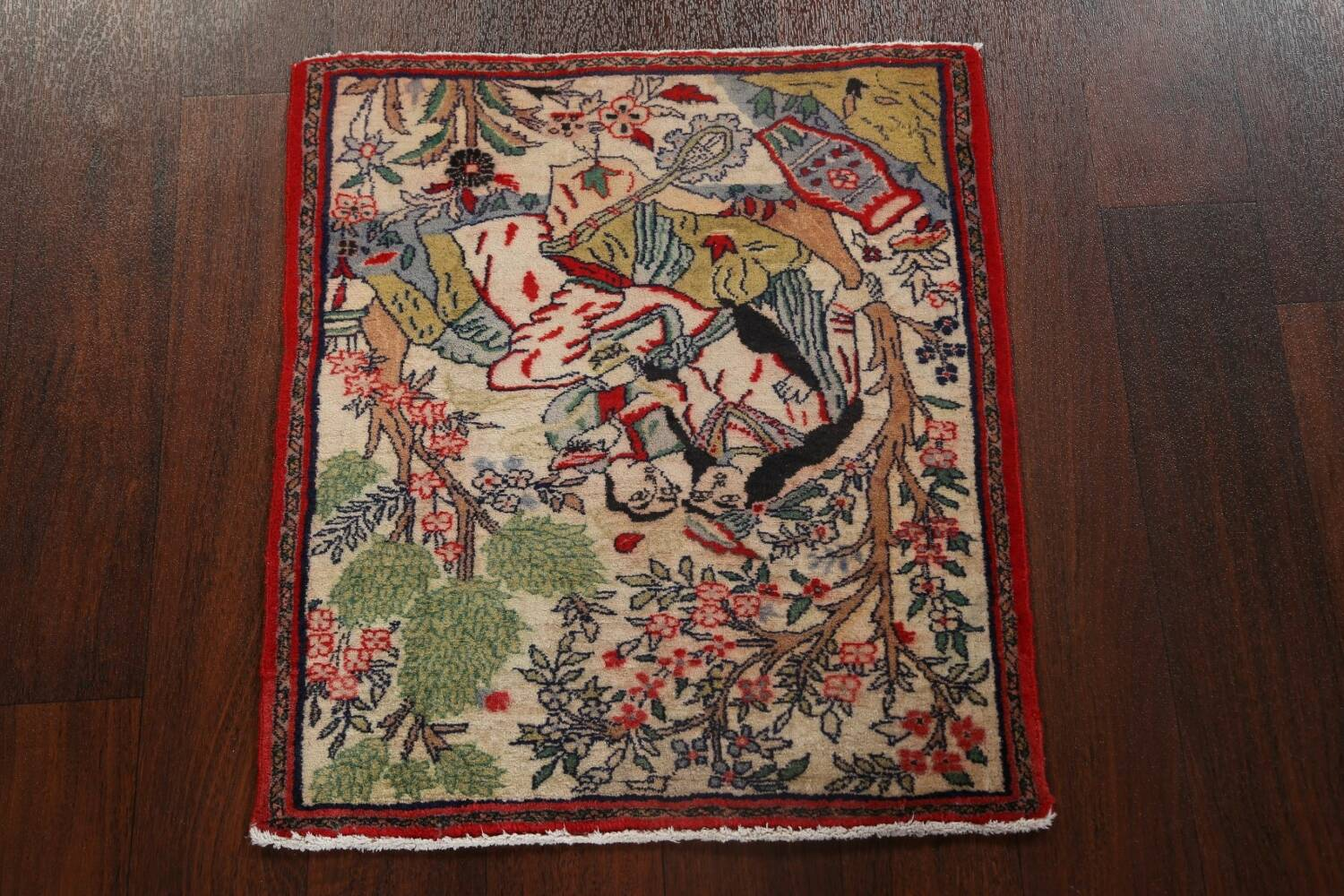 Pictorial Square Kashmar Persian Area Rug 2x2 image 12