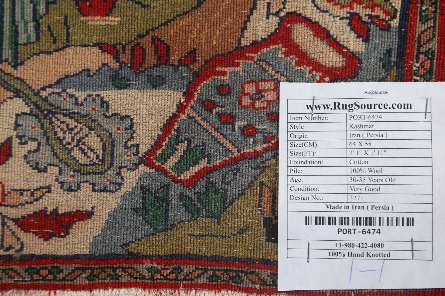 Pictorial Square Kashmar Persian Area Rug 2x2 image 15