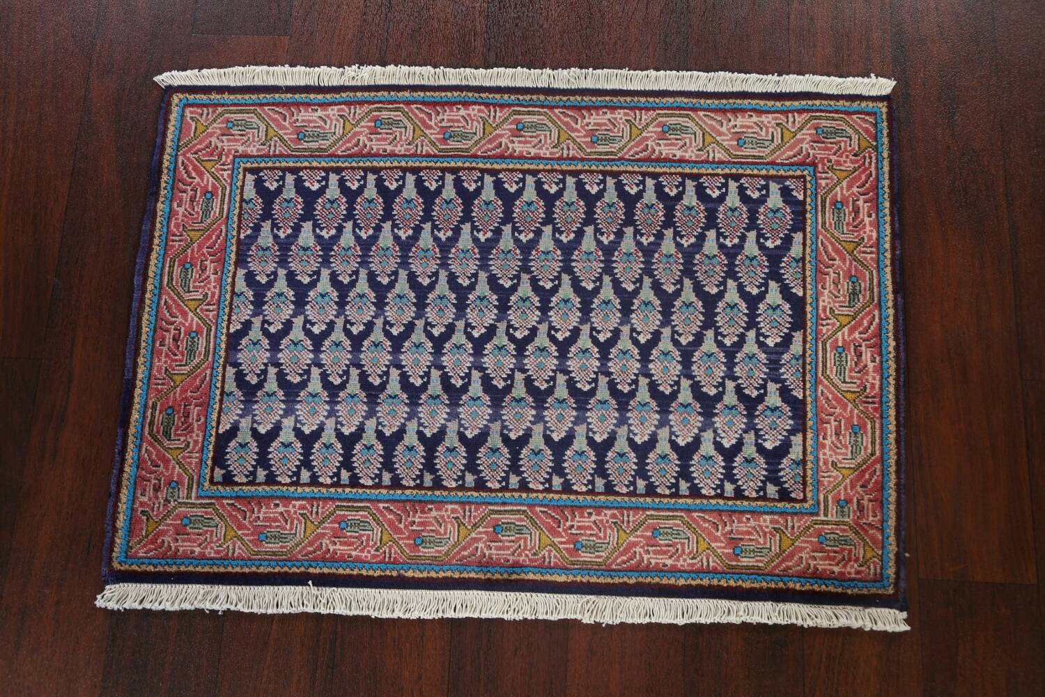All-Over Navy Blue Tabriz Persian Area Rug 2x3 image 2