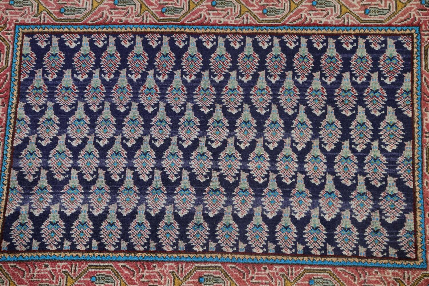 All-Over Navy Blue Tabriz Persian Area Rug 2x3 image 3