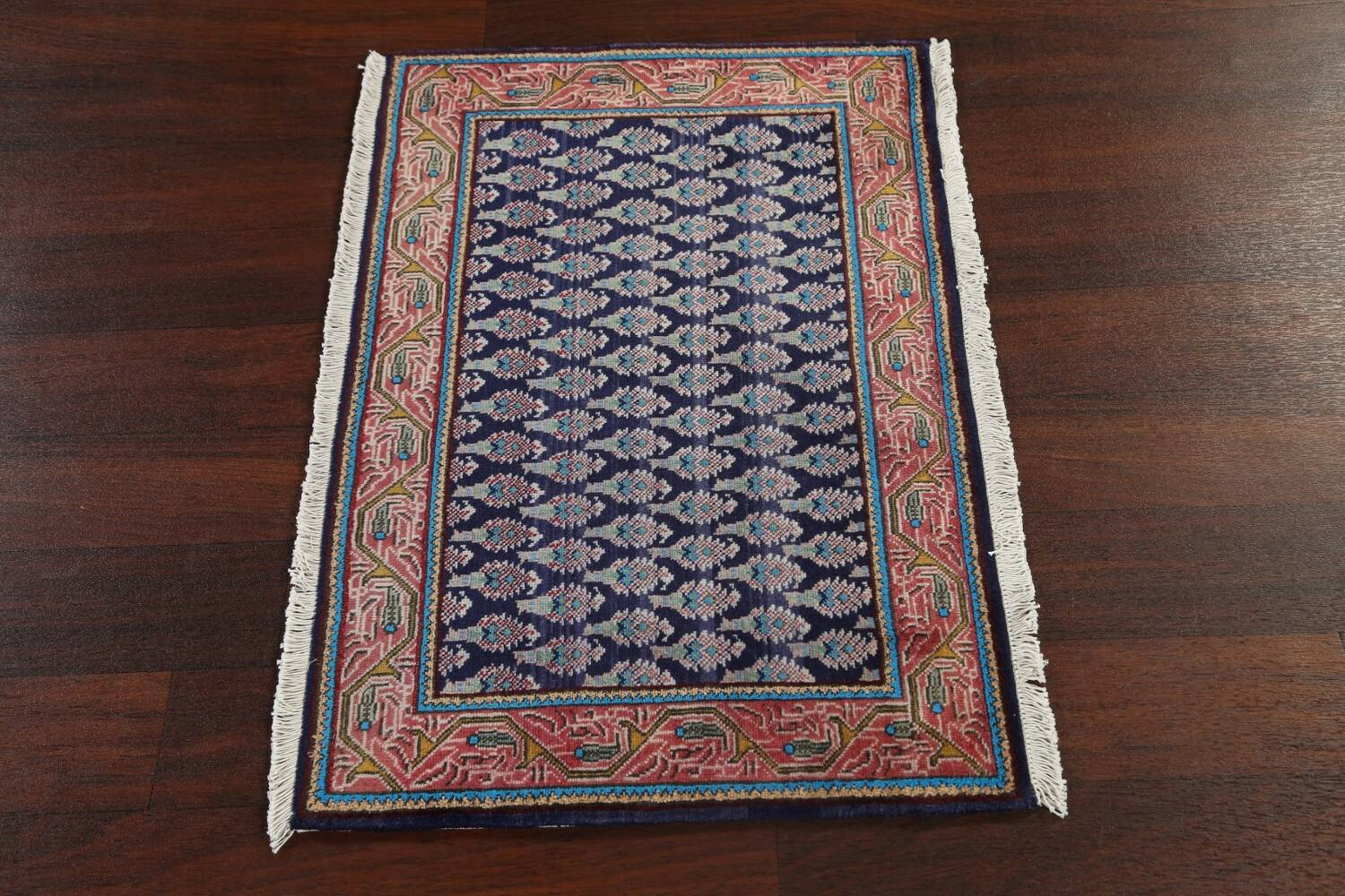All-Over Navy Blue Tabriz Persian Area Rug 2x3 image 11