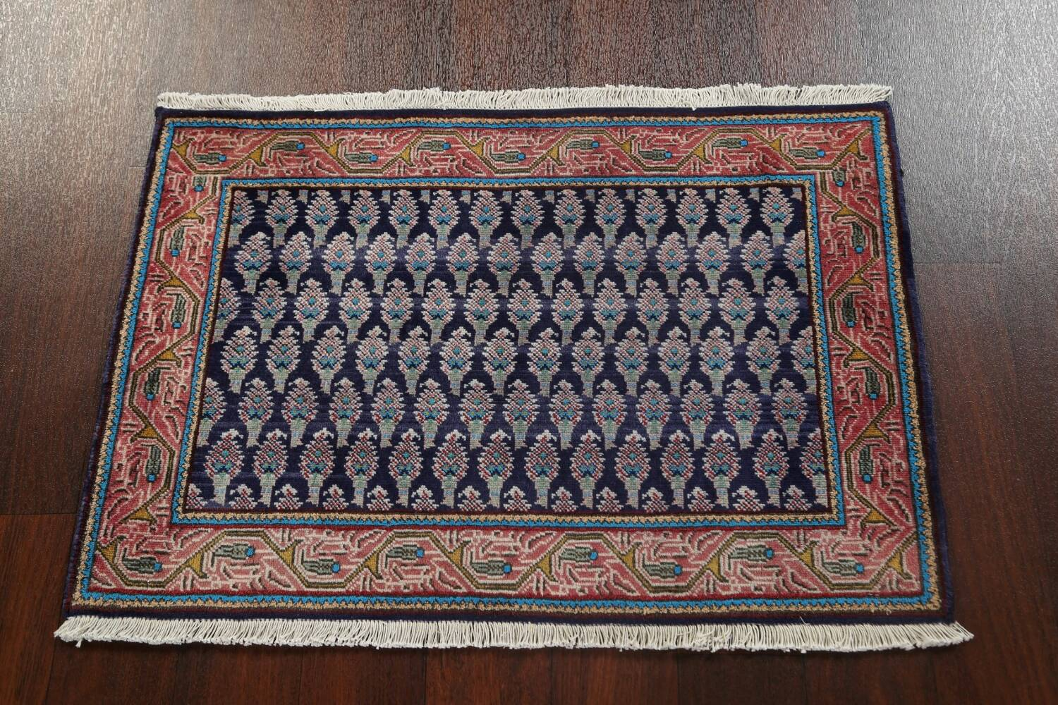 All-Over Navy Blue Tabriz Persian Area Rug 2x3 image 12