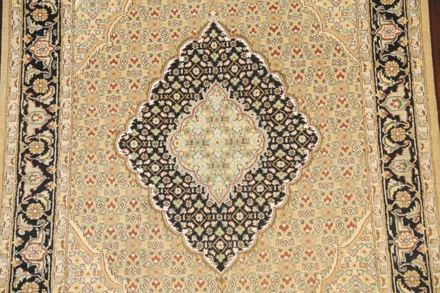 Vegetable Dye Geometric Tabriz Mahi Oriental Area Rug 4x6 image 4