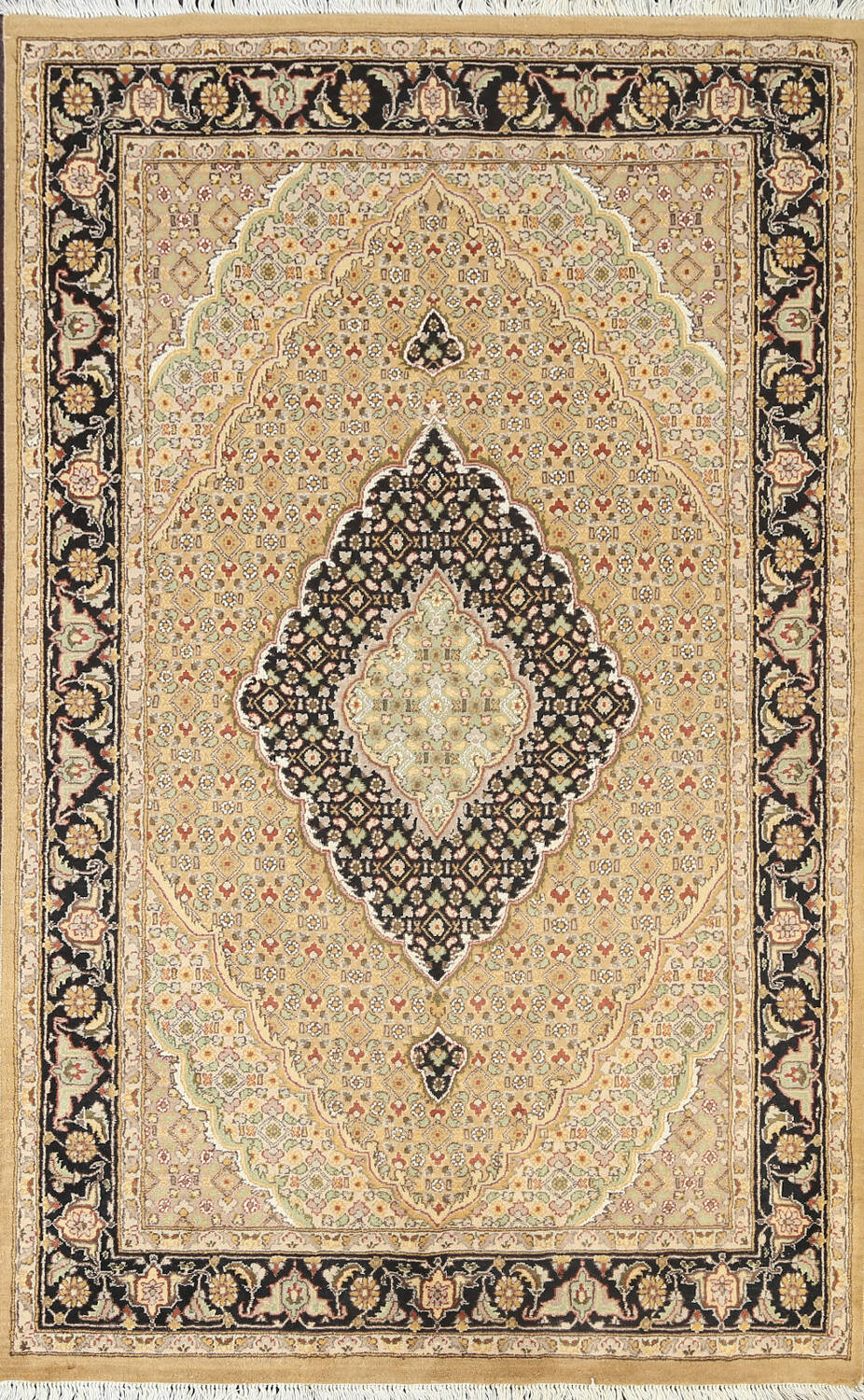 Vegetable Dye Geometric Tabriz Mahi Oriental Area Rug 4x6 image 1