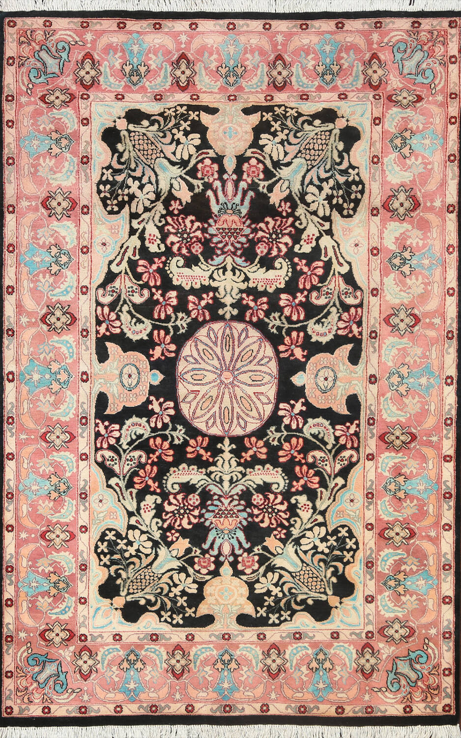 Vegetable Dye Floral Tabriz Oriental Area Rug 4x6 image 1