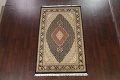 Vegetable Dye Geometric Tabriz Mahi Oriental Area Rug 4x7 image 2