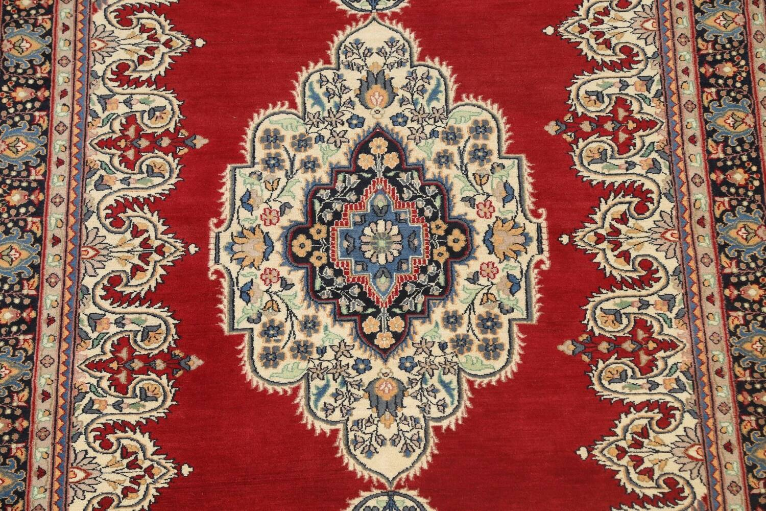 100% Vegetable Dye Red Tabriz Oriental Area Rug 5x7 image 4