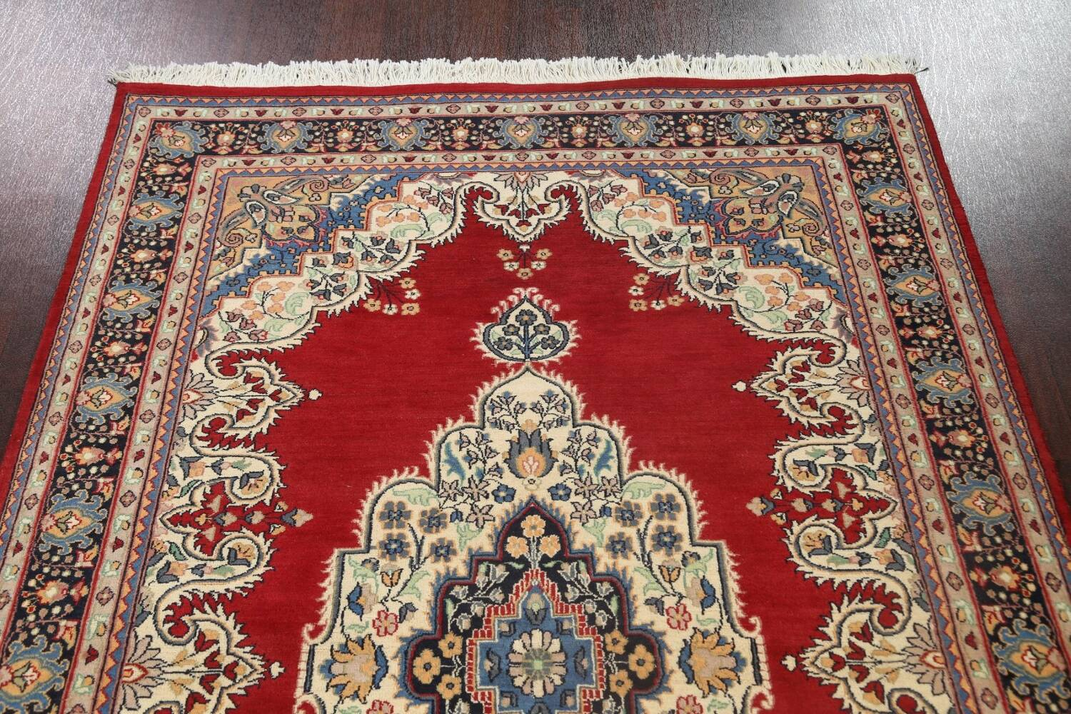100% Vegetable Dye Red Tabriz Oriental Area Rug 5x7 image 9