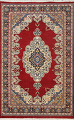 100% Vegetable Dye Red Tabriz Oriental Area Rug 5x7 image 1
