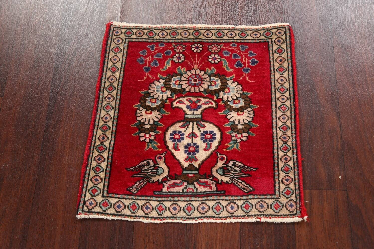 Animal Pictorial Red Tabriz Persian Area Rug 2x2 image 2