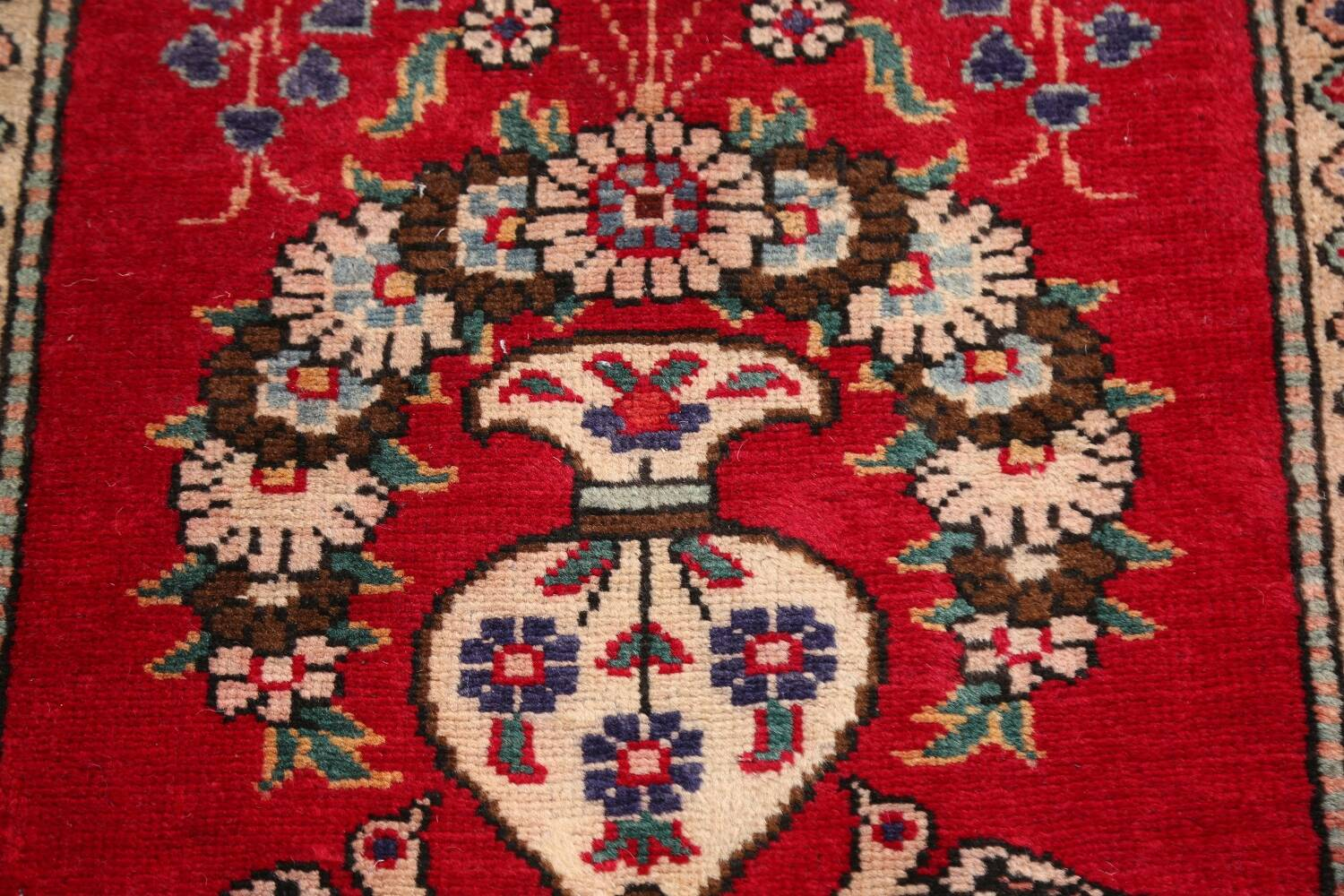 Animal Pictorial Red Tabriz Persian Area Rug 2x2 image 4