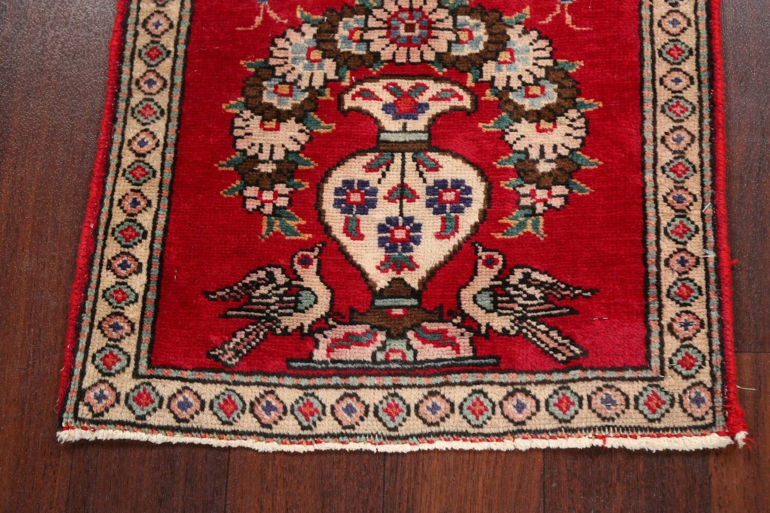 Animal Pictorial Red Tabriz Persian Area Rug 2x2 image 5