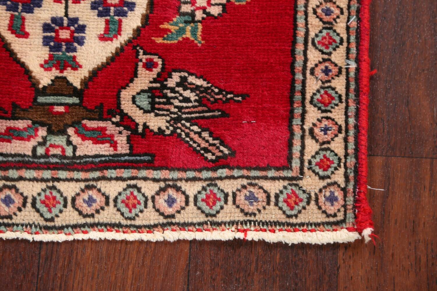 Animal Pictorial Red Tabriz Persian Area Rug 2x2 image 6