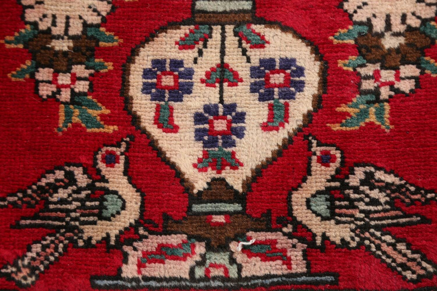 Animal Pictorial Red Tabriz Persian Area Rug 2x2 image 8