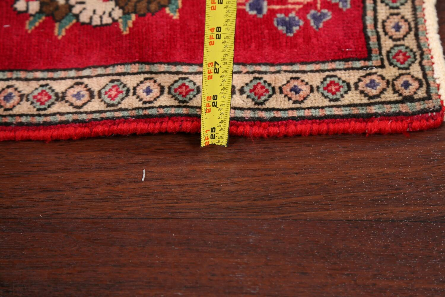 Animal Pictorial Red Tabriz Persian Area Rug 2x2 image 14