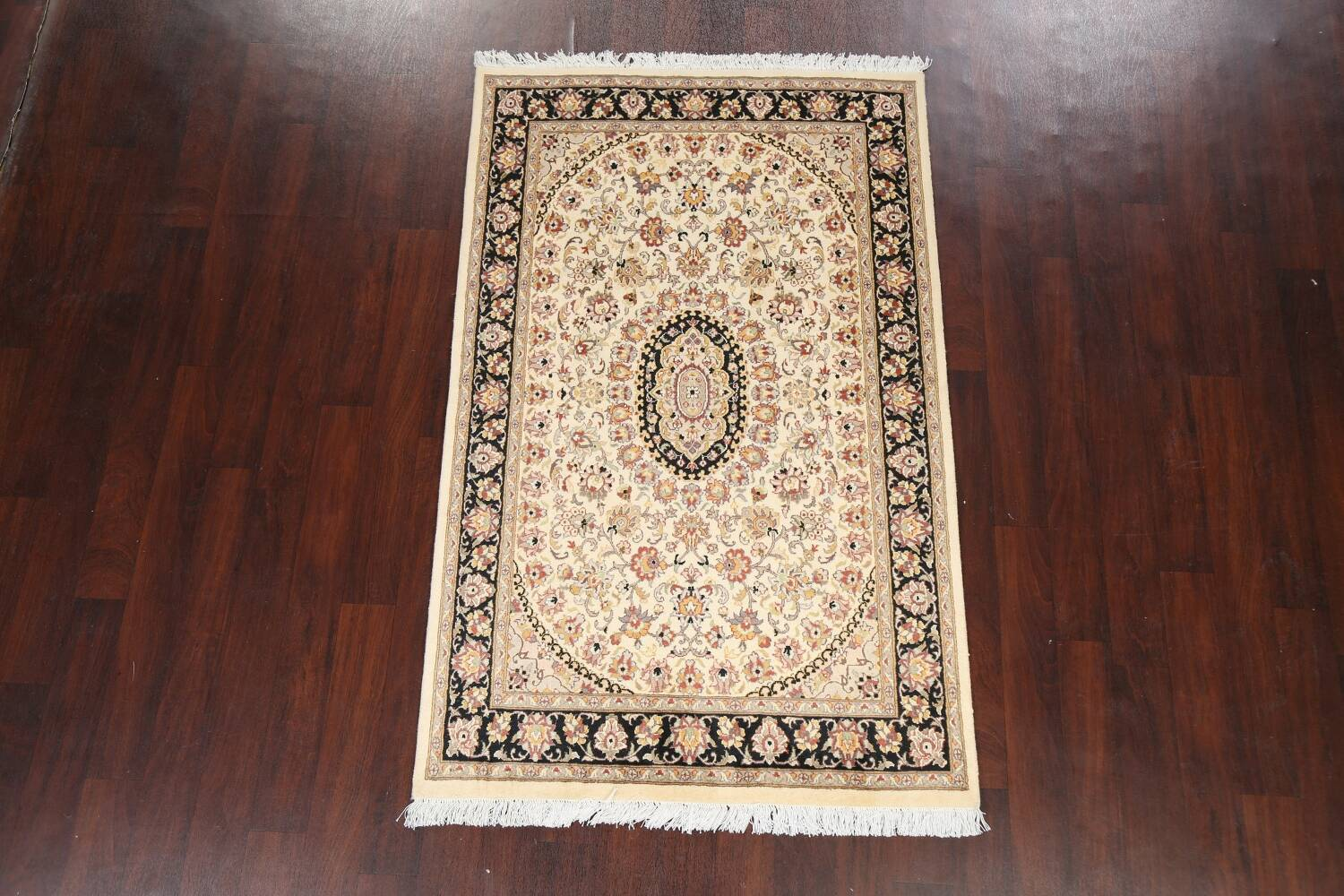 Vegetable Dye Floral Tabriz Oriental Area Rug 4x6 image 2