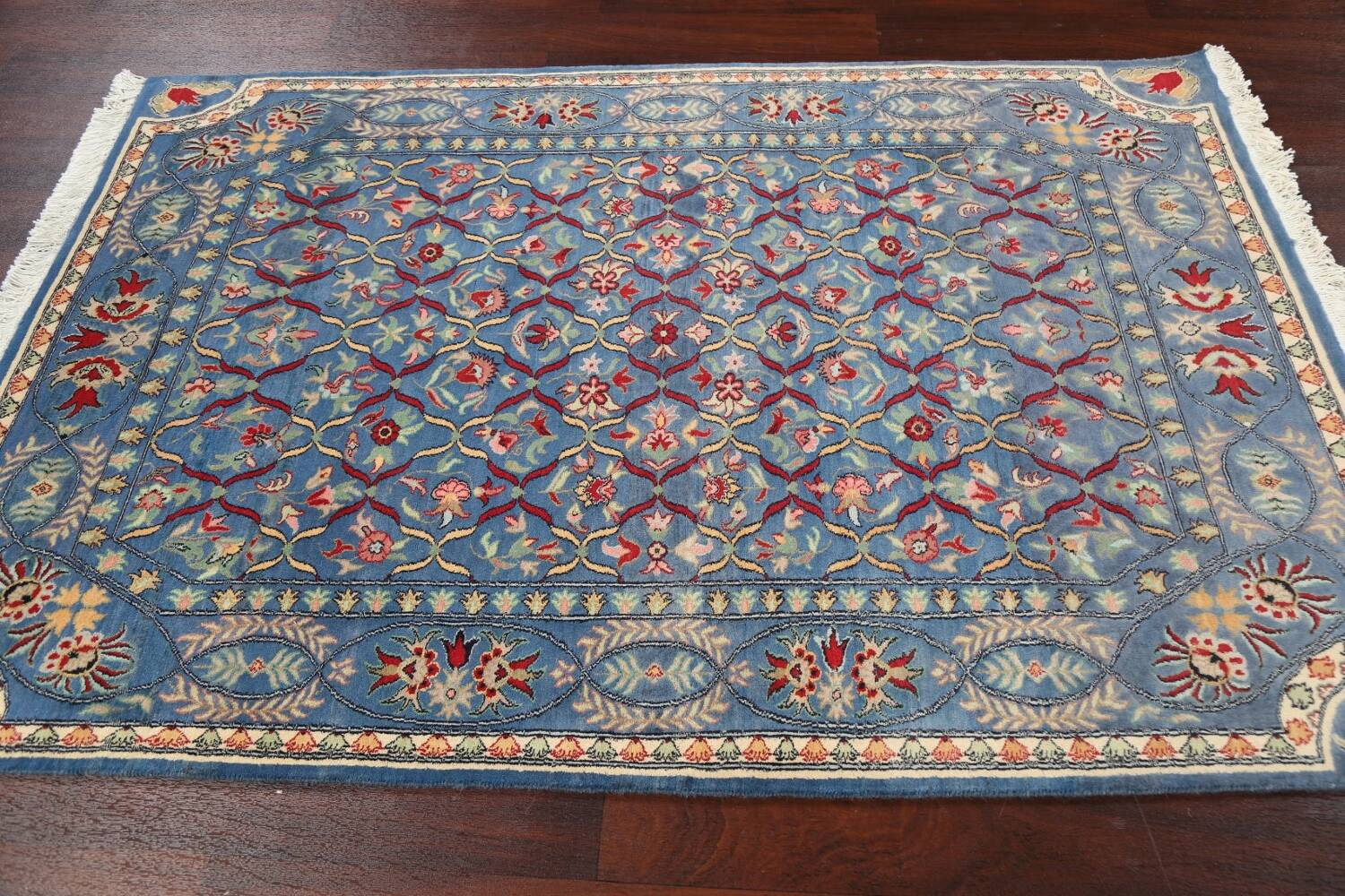 Vegetable Dye Floral Tabriz Oriental Area Rug 4x6 image 12