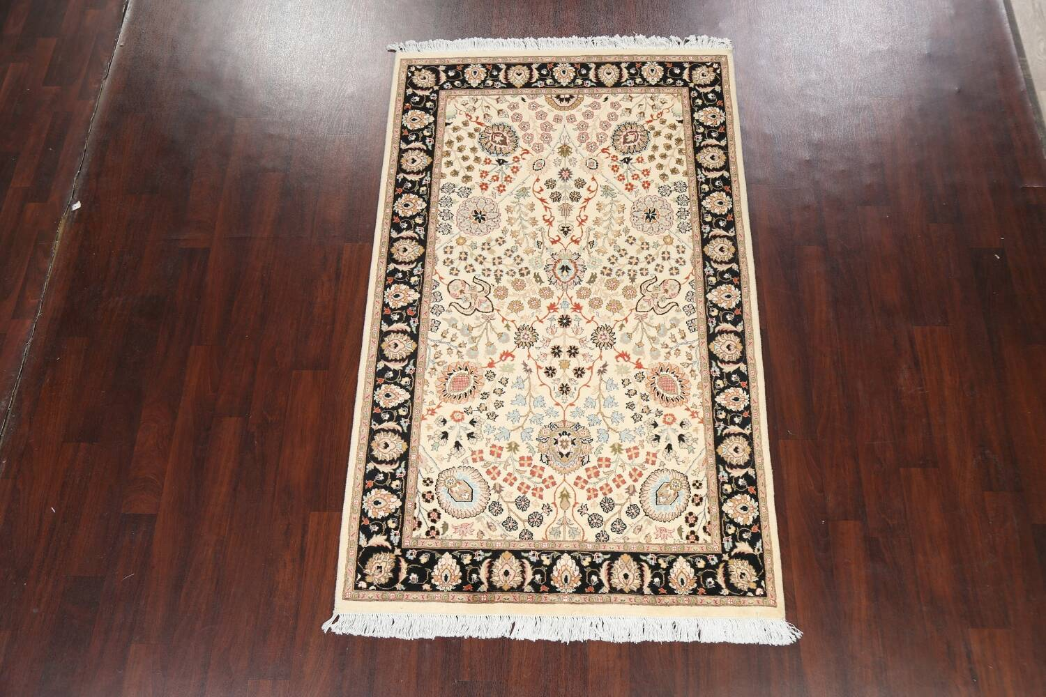 Vegetable Dye Floral Tabriz Oriental Area Rug 4x7 image 2
