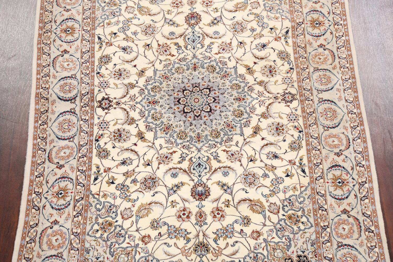 100% Vegetable Dye Floral Isfahan Persian Area Rug 5x8 image 3