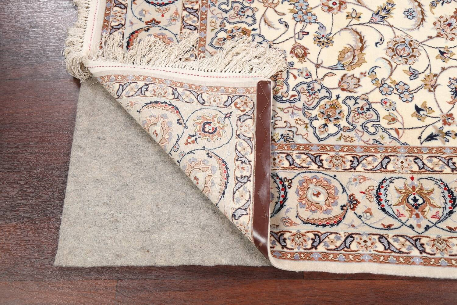 100% Vegetable Dye Floral Isfahan Persian Area Rug 5x8 image 7