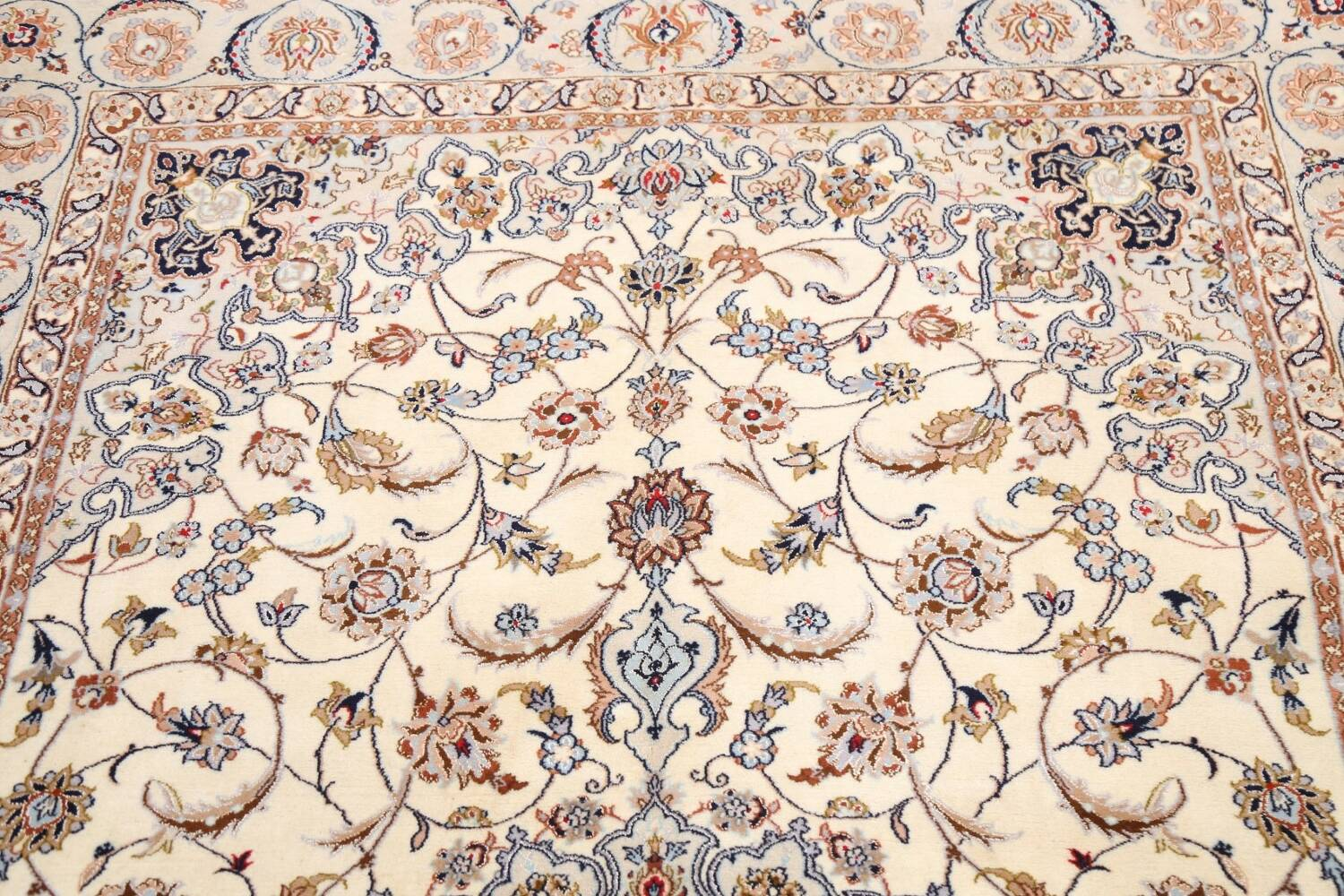 100% Vegetable Dye Floral Isfahan Persian Area Rug 5x8 image 10
