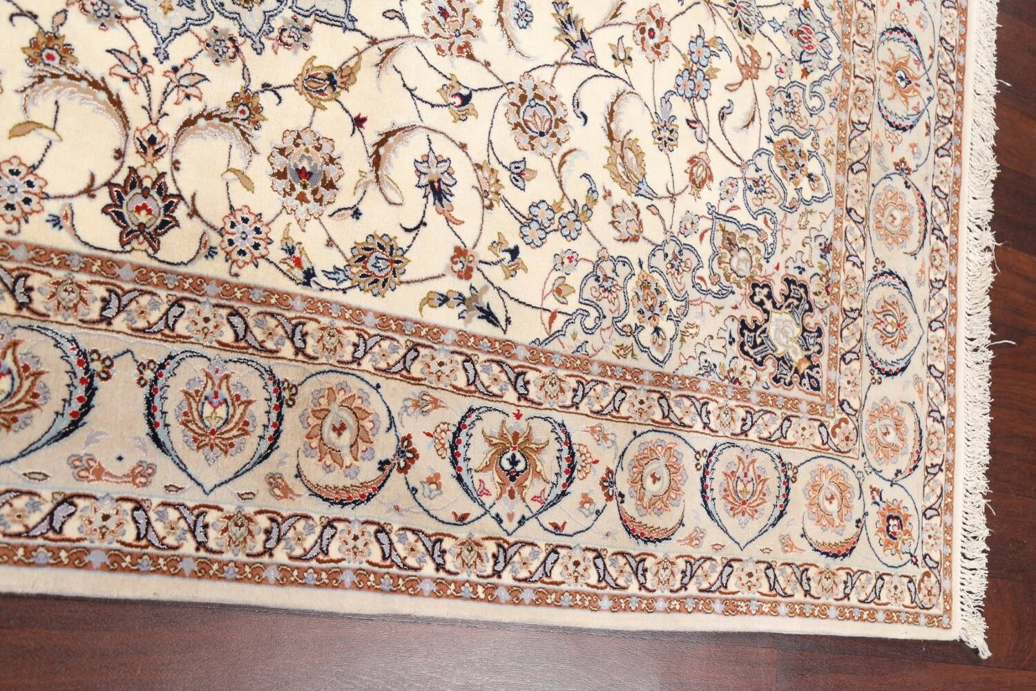 100% Vegetable Dye Floral Isfahan Persian Area Rug 5x8 image 12