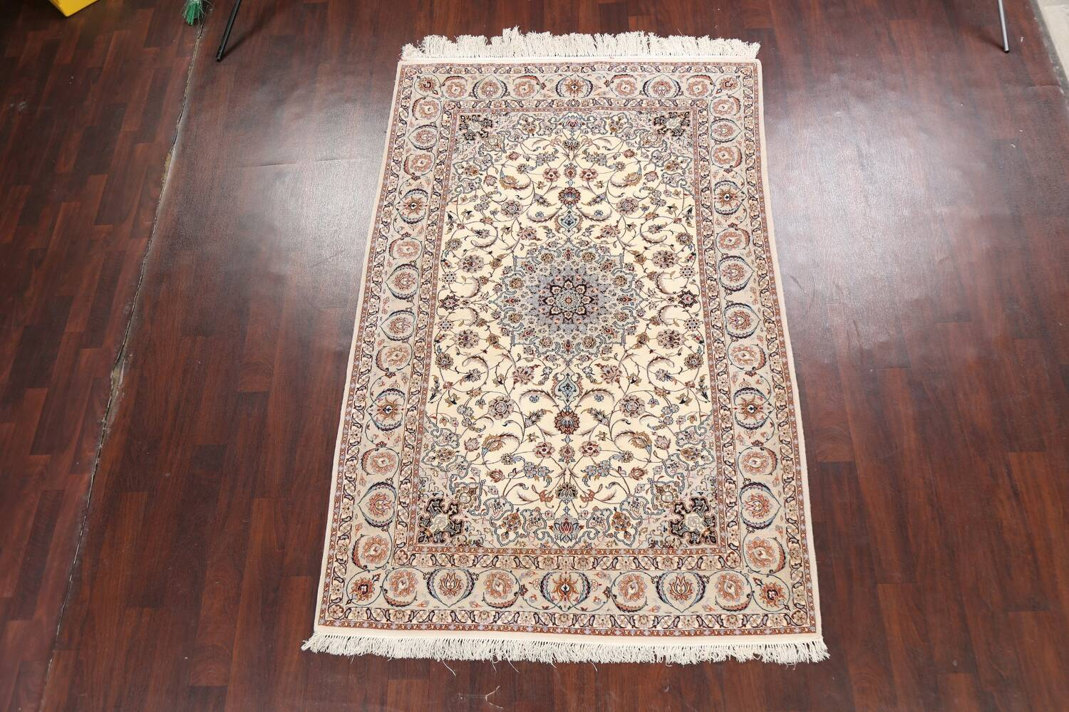 100% Vegetable Dye Floral Isfahan Persian Area Rug 5x8 image 14