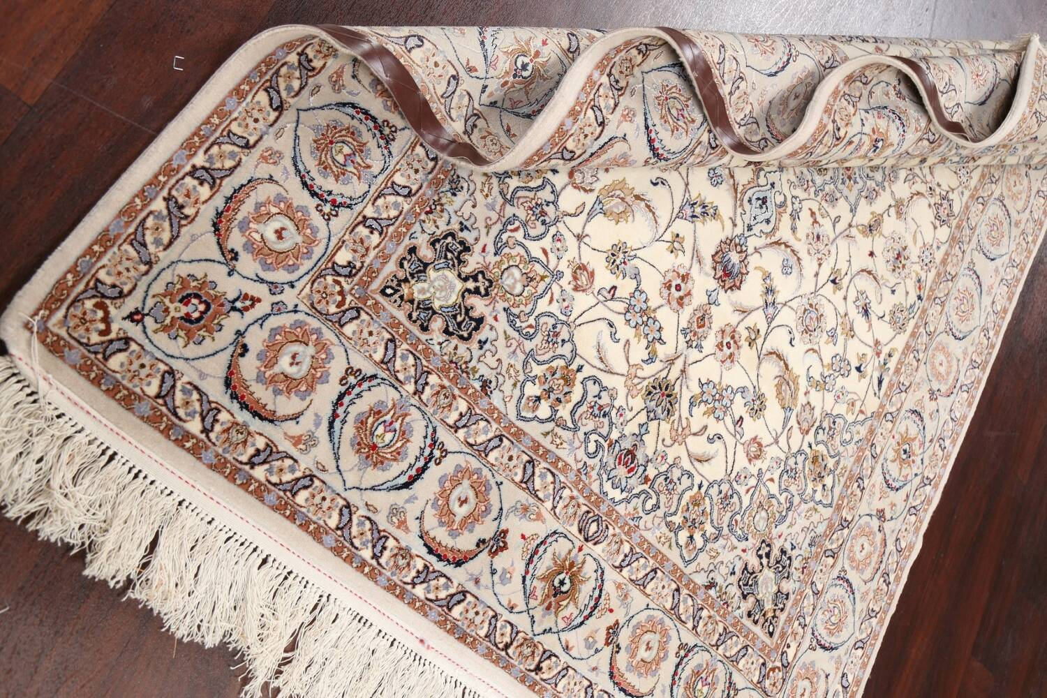 100% Vegetable Dye Floral Isfahan Persian Area Rug 5x8 image 16