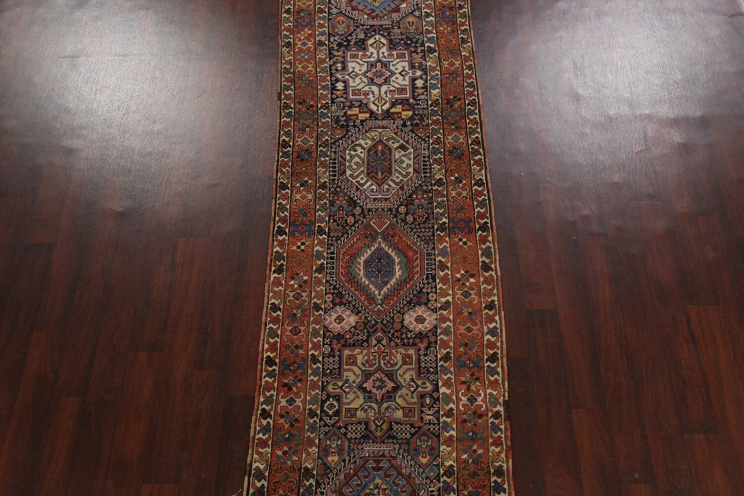 Pre-1900 Antique Vegetable Dye Kazak Oriental Runner Rug 3x11 image 3
