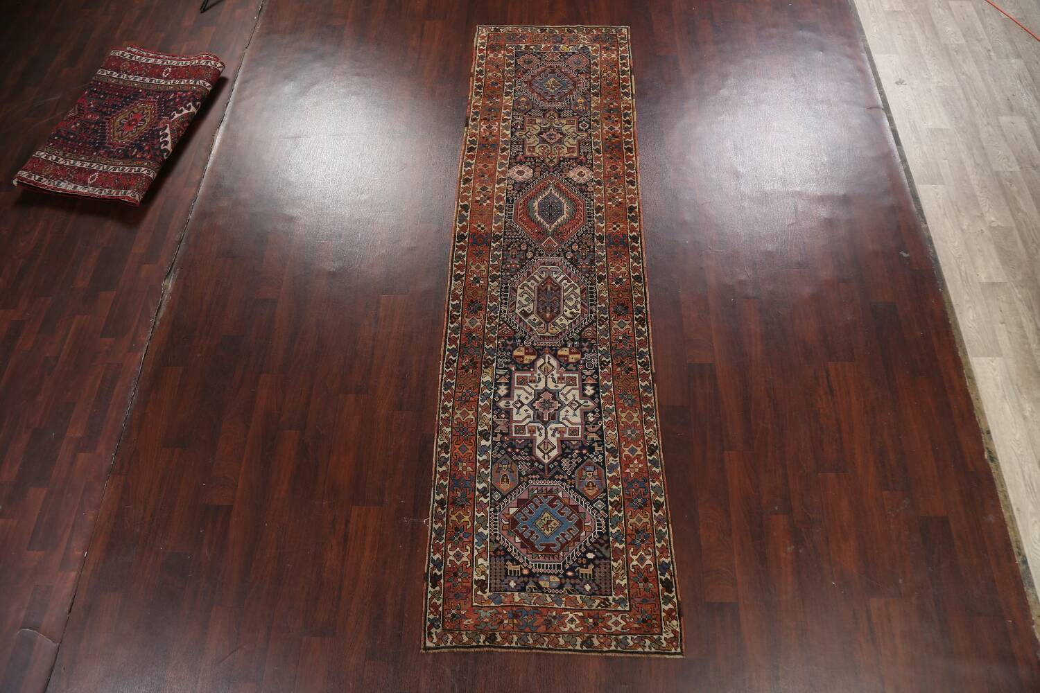 Pre-1900 Antique Vegetable Dye Kazak Oriental Runner Rug 3x11 image 13