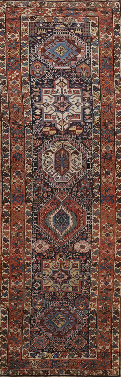 Pre-1900 Antique Vegetable Dye Kazak Oriental Runner Rug 3x11 image 1