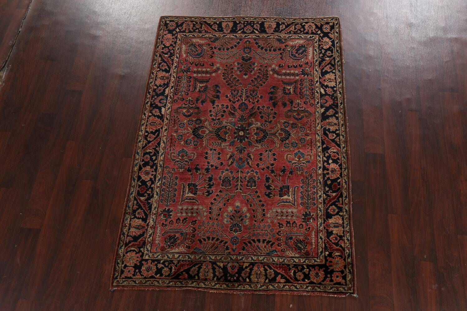 Antique Vegetable Dye Floral Sarouk Persian Area Rug 4x7 image 2