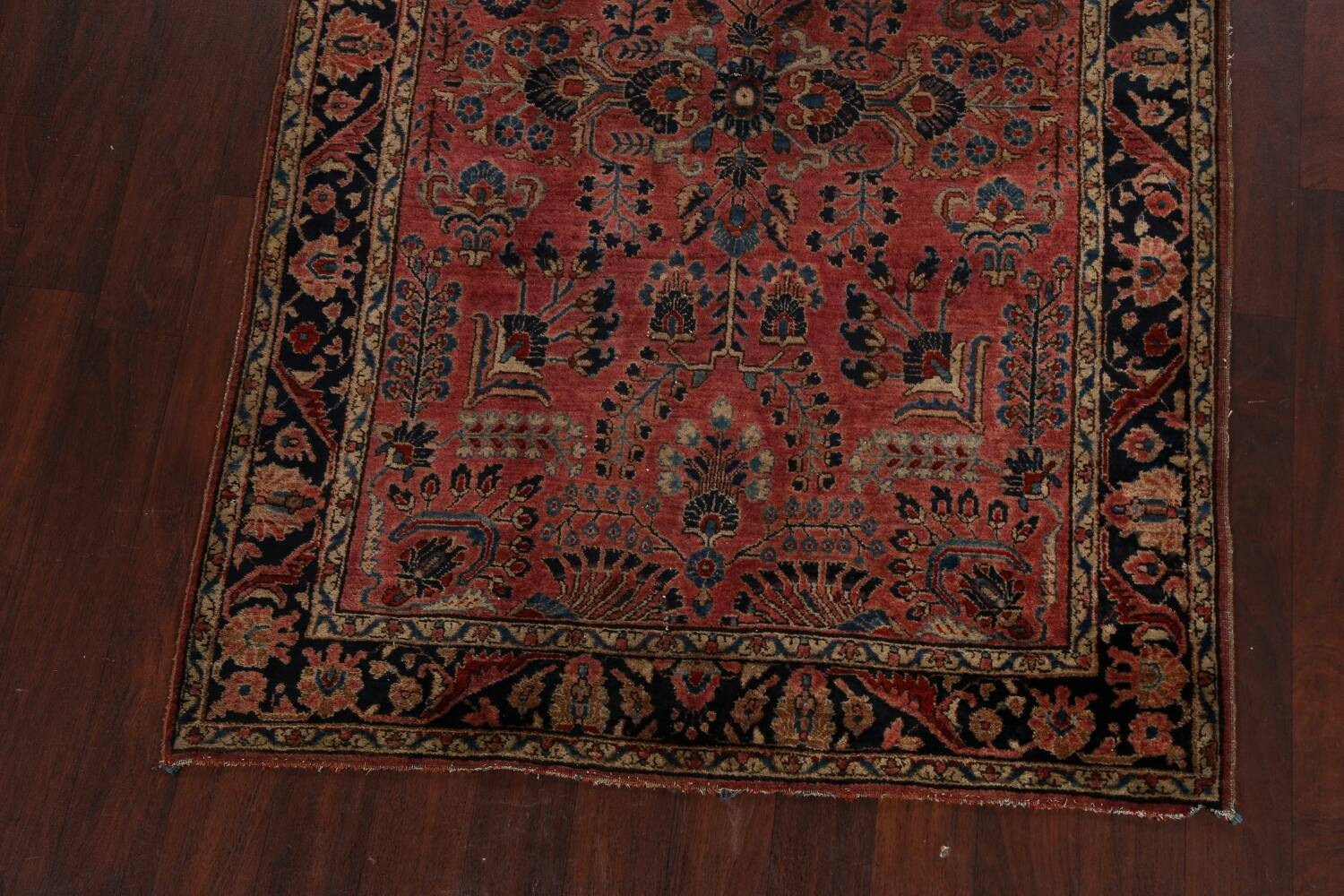 Antique Vegetable Dye Floral Sarouk Persian Area Rug 4x7 image 5
