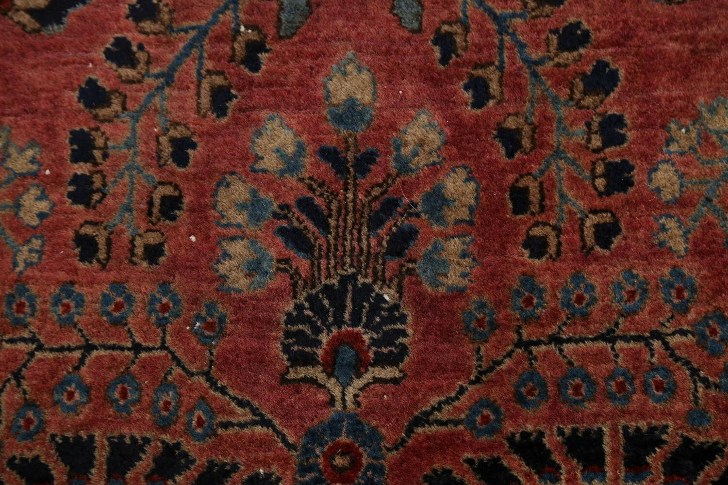 Antique Vegetable Dye Floral Sarouk Persian Area Rug 4x7 image 8