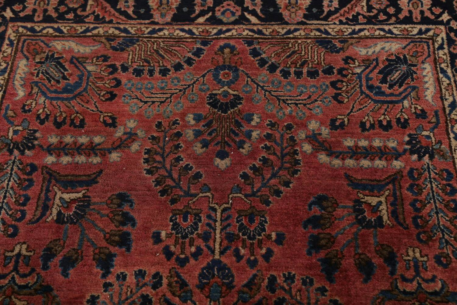 Antique Vegetable Dye Floral Sarouk Persian Area Rug 4x7 image 9