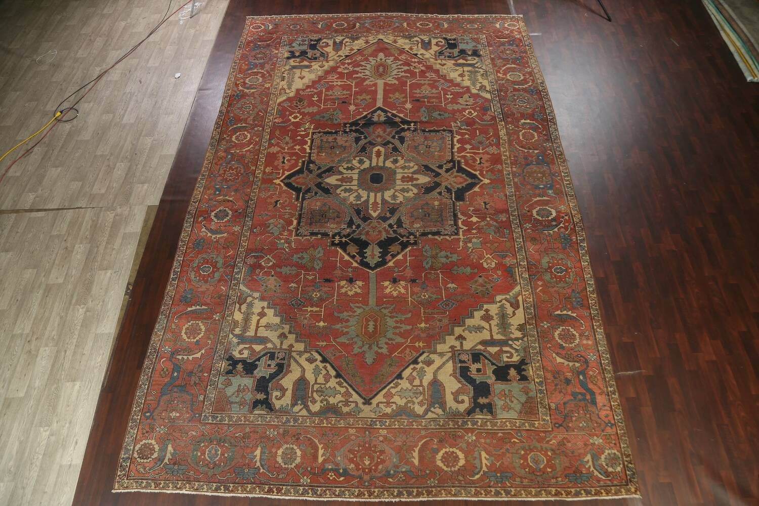 Pre-1900 Antique Vegetable Dye Heriz Serapi Persian Area Rug 12x18 image 2