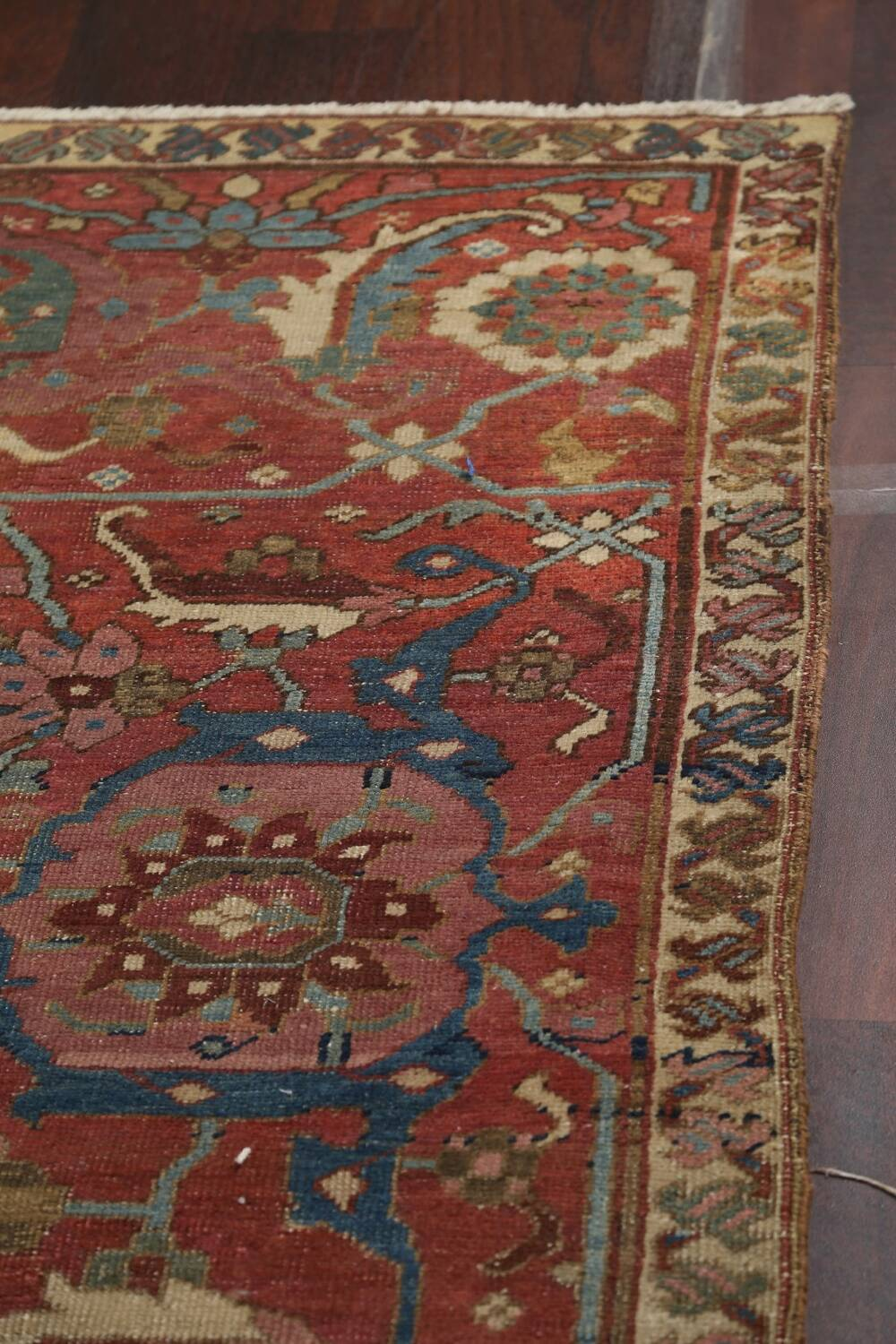 Pre-1900 Antique Vegetable Dye Heriz Serapi Persian Area Rug 12x18 image 11