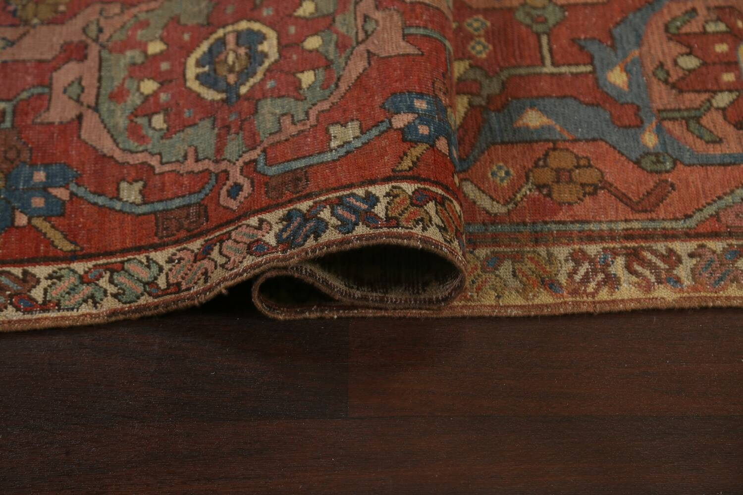 Pre-1900 Antique Vegetable Dye Heriz Serapi Persian Area Rug 12x18 image 12
