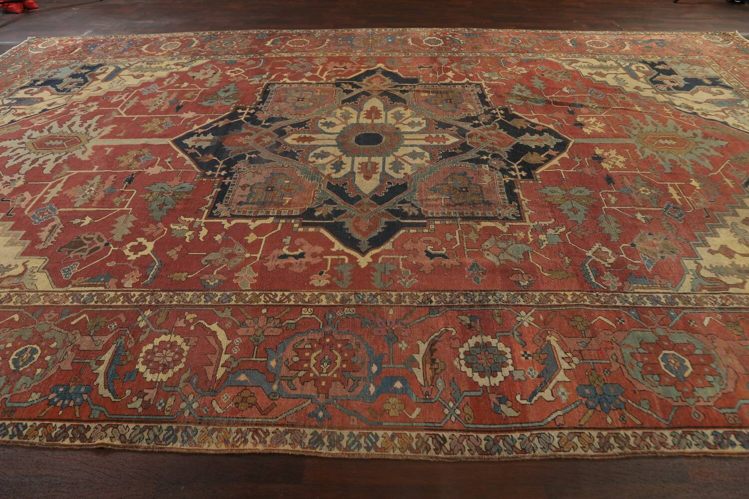 Pre-1900 Antique Vegetable Dye Heriz Serapi Persian Area Rug 12x18 image 13