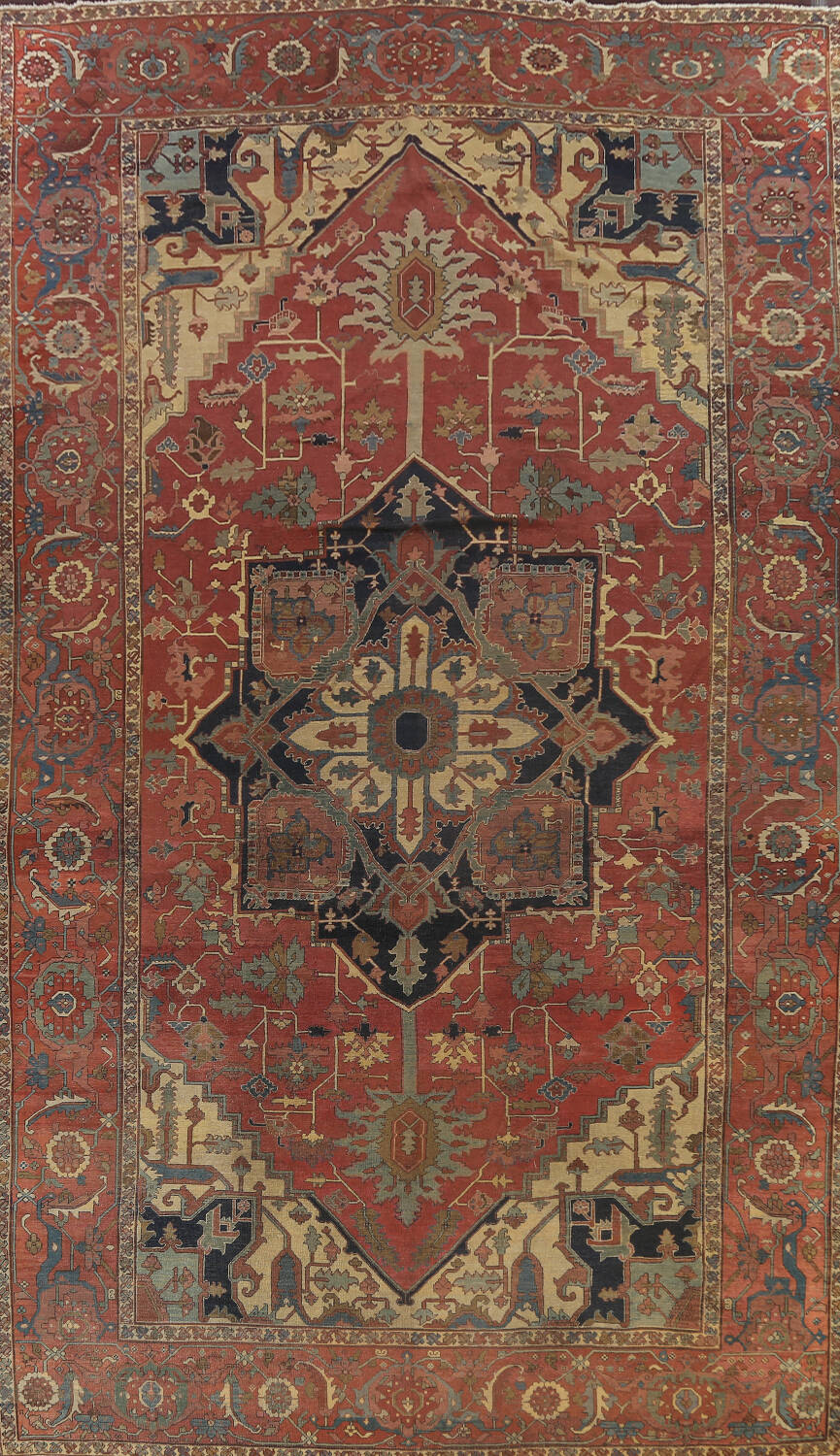 Pre-1900 Antique Vegetable Dye Heriz Serapi Persian Area Rug 12x18 image 1
